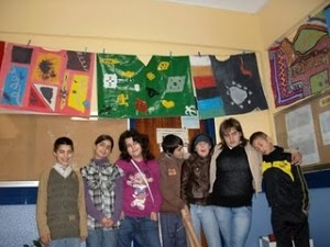 Portuguese students with Parangoles  made by Brazilian students